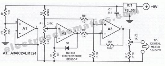 схемы электронных термометров - Только схемы.